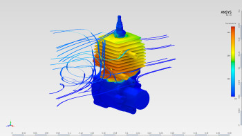 The conjugate heat transfer of an air-cooled engine. Results are included for both fluids and solids. (Image courtesy of ANSYS.)