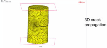 Image of a crack propagating through a solid. As the crack tip moves through the solid the adaptive mesh will create finer elements near the crack tip. Image courtesy of MSC Software.