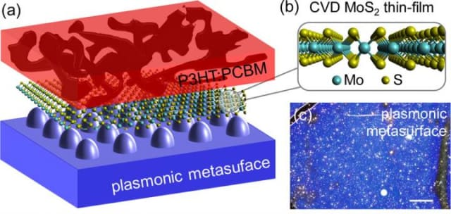This figure depicts the organic semiconductor, in this case P3HT:PCBM in red, with a 2-D MoS2 layer on a silver plasmonic metasurface. (Image courtesy of Christopher Petoukhoff.)