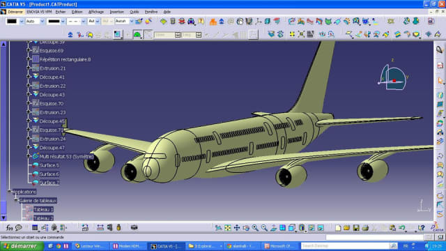 AIRBUS 380 IN CATIA. Airbus uses Dassault's CATIA V5 in their CAD design. PTC's PDM solution Windchill serves as the main technological backbone.