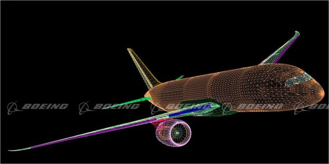 WIREFRAME ILLUSTRATION OF BOEING'S DREAMLINER. The 787 Dreamliner was designed in Dassault Systèmes' CAx software CATIA V5. In this model program, Boeing used Dassault's ENOVIA as the product data backbone. In other programs, Siemens PLM's Teamcenter serves the same purpose.
