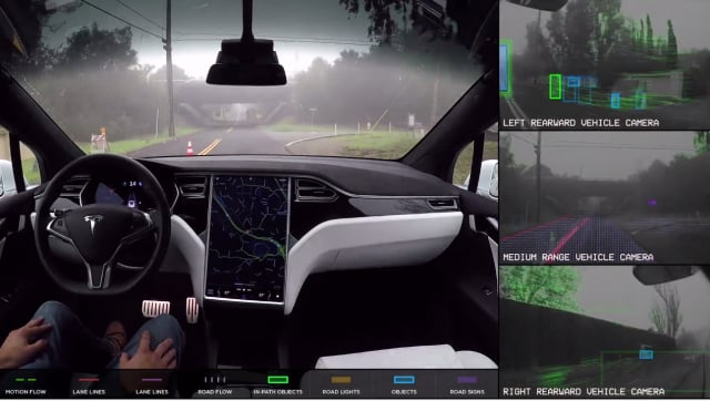Demonstration of a Tesla Model S driving without any human intervention. (Image courtesy of Tesla.)