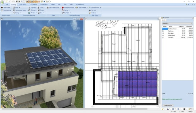 The addition of roof-mounted solar panels is one of the new features of Home Designer Pro 4. Users can also simultaneously view floor plans and 3D renders while designing buildings. (Image courtesy of Ashampoo.)