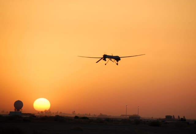 An Air Force Predator unmanned aerial vehicle, similar to those used by US Customs and Border Protection, goes out on patrol from Balad Air Base, Iraq. (Image courtesy of U.S. Air Force.)