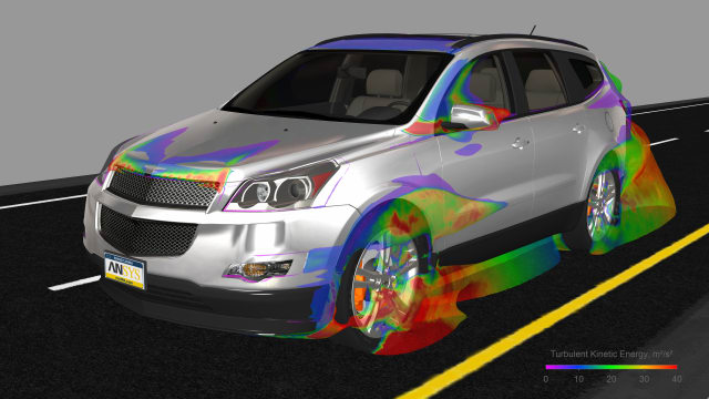 EnSight model shows a car moving at 70 mph with isosurface colorization to represent turbulent kinetic energy. This can help designers optimize a design to reduce drag and increase fuel efficiency. (image courtesy of ANSYS.)