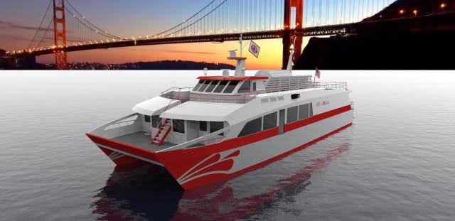 Artist's rendering of the proposed San Francisco Bay Renewable Energy Electric Vessel with Zero Emissions (SF-BREEZE). A Sandia National Laboratories-led study found that a high-speed, hydrogen-fueled passenger ferry is feasible. (Image courtesy of Sandia National Laboratories.)