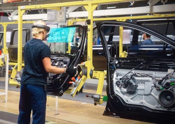 Volvo has been experimenting with AR on its assembly lines using Microsoft's HoloLens. (Image courtesy of Microsoft.)