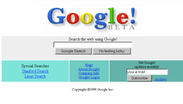 Screenshot of the original Google homepage. (Image courtesy of Google.)
