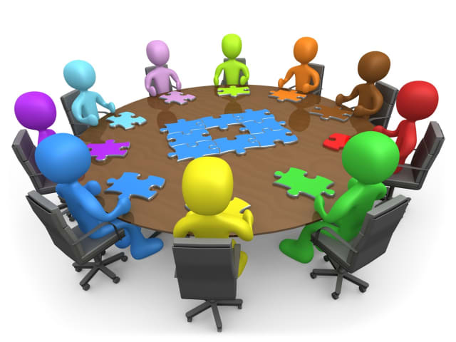Department heads gathered around the jigsaw puzzle of a PLM implementation. Each person's puzzle piece is different, so politics emerges to resolve the differences. (Image source 3d Clipart Of.com)