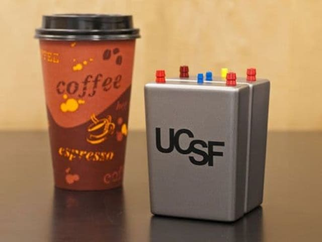 The artificial kidney will be roughly the size of a coffee cup and powered by the pumping of the body's own blood. (Image courtesy of UCSF.)