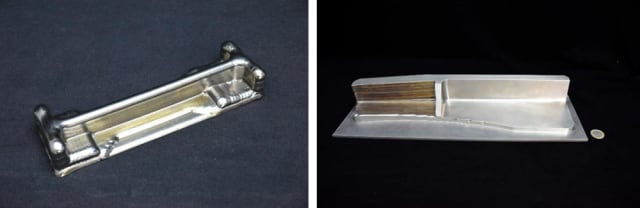 On the left, a 3D-printed metal part made with RAF. On the right, that part machined to specification. (Image courtesy of Prodways.)