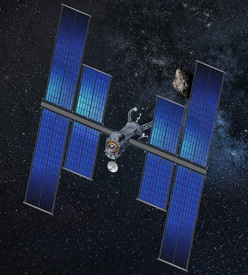 Artist Depiction of ROSA Powering a Satellite