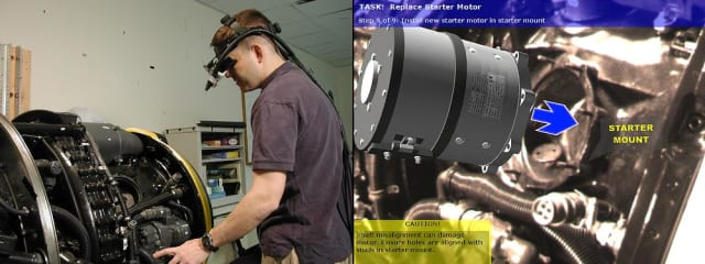 (Left) A mechanic wearing a tracked head-worn display performs a maintenance task on a Rolls Royce DART 510 Engine. (Right) A view through the head-worn display depicts information using augmented reality to assist the mechanic. (Image courtesy of Columbia University.)