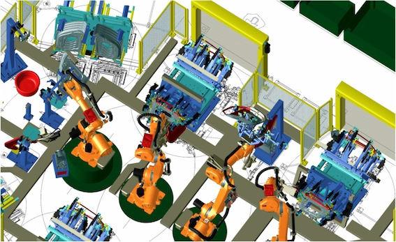 Robotic simulation of a production line. (Image courtesy of Bridgeland Copyright.)