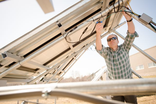 Solar technology could help make the power grid more resilient to attacks and natural disasters. Many military bases are located in regions with a history of power outages; microgrids could serve as back-ups to prevent service disruption during natural disasters and attacks. (Image courtesy of Sarah Bird/Michigan Tech.)