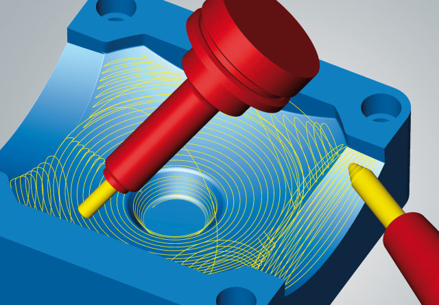 An illustration of hyperMILL MAXX Machining showing the 5-axis tangent machining in action on every continuous face at the same time. (Image courtesy of OPEN MIND Technologies.)