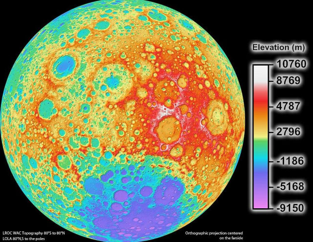 LIDAR first captured the public's imagination during the Apollo 15 lunar mission, where it was used to create a surface map of the moon. NASA published this complete 3D model of the moon's surface in 2011. (Image courtesy of NASA).