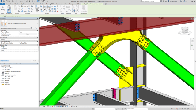 Figure 1 – Advance Steel 2018 adds 130 parametric steel connections that may be transferred to the Revit model. Image courtesy of Autodesk