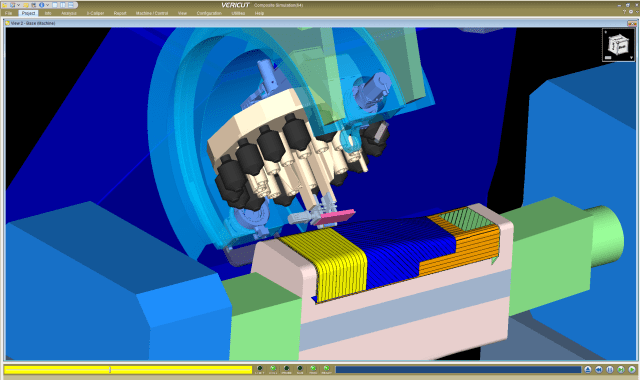 Allowing machinists to input the specific combination of material variables into VERICUT's Composite Simulation improves users' ability to detect collisions and verify specific actions like course stagger, reducing the probability of costly errors. (Image courtesy of CGTech).
