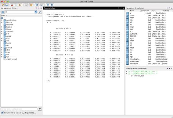 Figure 1: Scilab coding environment.(Image courtesy of Scilab Enterprises.)