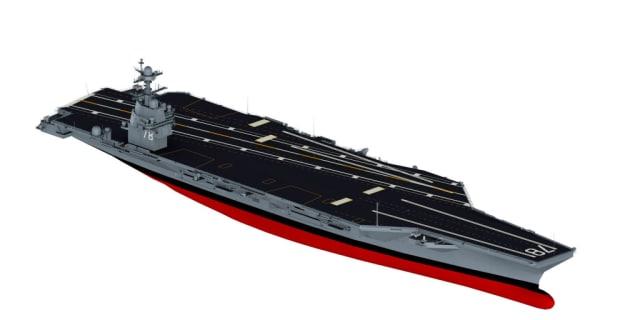 3D model design rendering of the USS Gerald R. Ford(CVN-78). The first total redesign and reengineering of the supercarrier class is also the first aircraft carrier to be fully designed and represented by 3D modeling software. (Image courtesy of US Navy.)