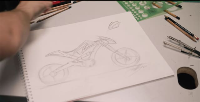 Pohl's sketch of the Fusion 360 motorcycle. (Image courtesy of Autodesk.)