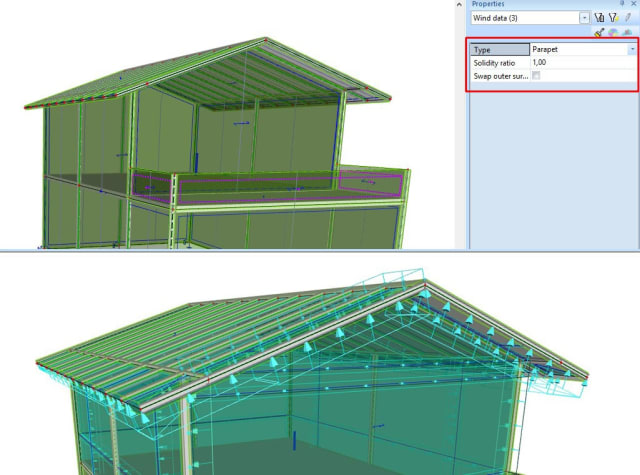 The 3D wind load generator now covers overhangs and parapets (Image courtesy of SCIA.)