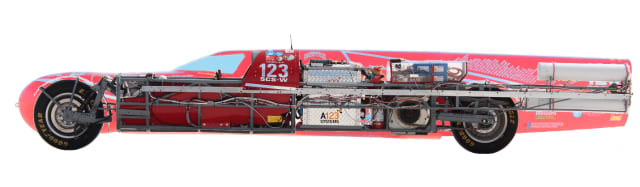 Figure 2. 300 lb of lithium batteries located behind the driver power the KillaJoule. (Image courtesy of evahakanssonracing.com.)