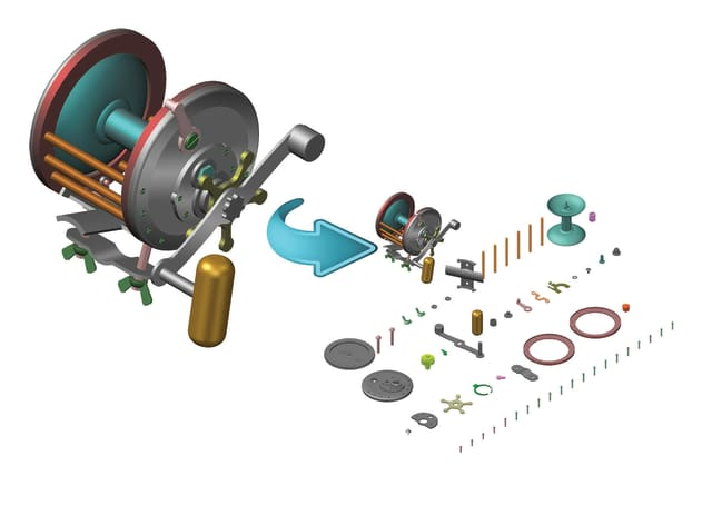A snapshot of an improvement in the Model Prep function, which takes apart a solid assembly and lays out each body on a single plane at its toolpath origin. (Image courtesy of Mastercam.)