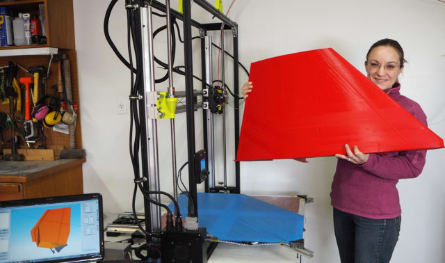 Figure 3. Håkansson has designed a covering for the outrigger that generates downward force and has printed the covering on a Lulzbot 3D printer that is customized to handle large parts. (Image courtesy of evahakanssonracing.com.)