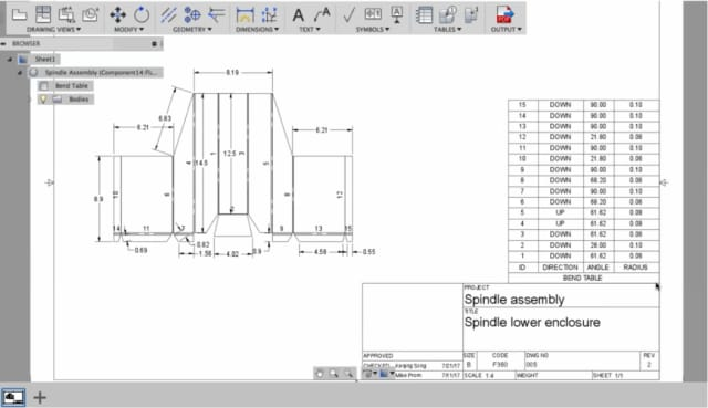Design tables and other manufacturing information can be carried along with the design as it is modeled. (Image courtesy of Autodesk.)
