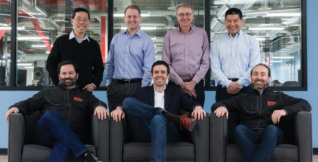 Desktop Metal co-founders (front left to right: CEO Ric Fulop, A. John Hart, Jonah Myerberg; standing left to right: Yet Ming-Chiang, Chris Schuh, Ely Sachs, Rick Chin). (Image courtesy of Desktop Metal.)