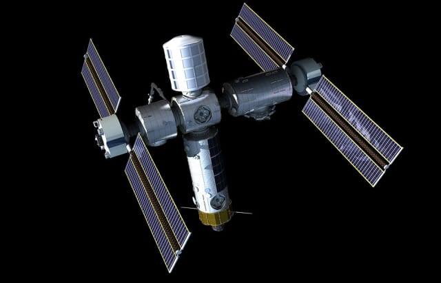 A rendering of the Axiom Space station. The station will begin as a single module installed onto the ISS before subsequent modules and components are added. (Image courtesy of Axiom Space.)