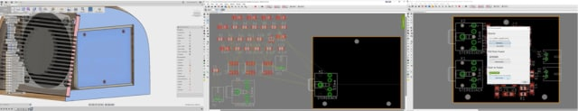 A PCB shape can be pushed to Eagle, where the components can be placed and the PCB can be pushed into Fusion 360. (Images courtesy of Autodesk.)