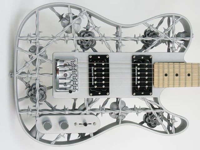 The world's first aluminum 3D-printed guitar made by Olaf Diegel and printed on an EOS M400. (Image courtesy of ODD Guitars.)
