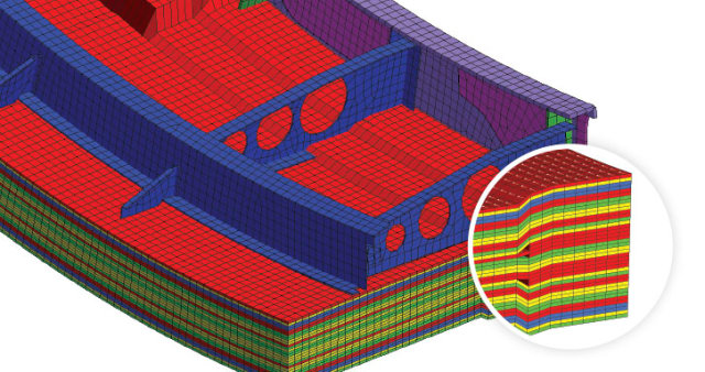 3D composite layers including angle of the fibers visualization in HyperMesh. (Image courtesy of Altair.)