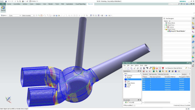Fibersim showing the manufacturing producibility of a conceptual composite configuration of a bicycle frame at the intersection of the down tube, seat tube and chain stay. The as-manufactured fiber orientations displayed indicate where deformation and fiber deviation occur, which can be passed on to the simulation software. (Image courtesy of Siemens PLM.)