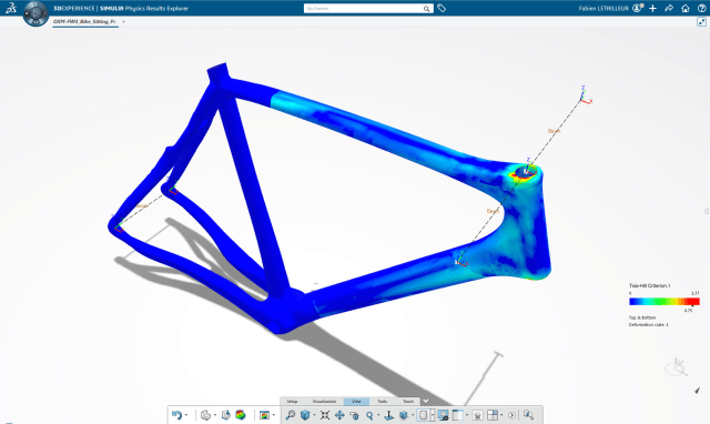 A bike frame analyzed in SIMULIA by Dassault Systèmes shows highest stress using Tsai-Hill criterion resulting from loads imposed by the handlebar. (Image courtesy of Dassault Systèmes.)