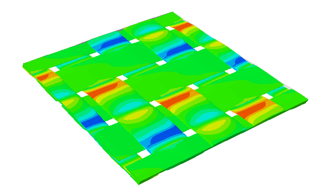 Figure 15. Multiscale simulation of a 3D woven composite in Abaqus micromechanics plug-in. (Image courtesy of Dassault Systèmes.)