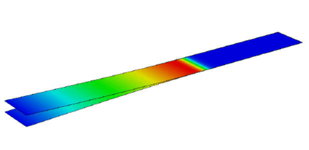 Figure 16. Delamination modeling of a double cantilever structure with shell elements and surface based cohesive contact. (Image courtesy of Dassault Systèmes.)