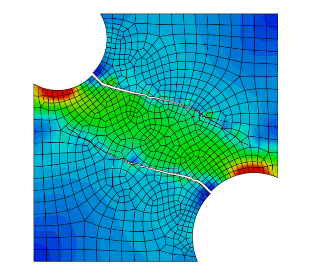 Figure 17. Crack propagation simulation using XFEM. (Image courtesy of Dassault Systèmes.)