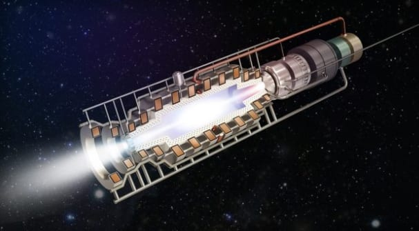 An artist's rendering of PSS's fusion rocket engine. (Image Courtesy of PSS)