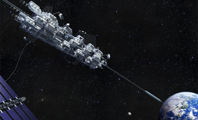 The Obayashi Corporation is aiming to build a sea-based space elevator by 2050. (Image courtesy of Obayashi Corporation.)