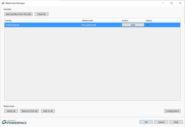 Figure 12. Dialog box for the Watermark Manager.