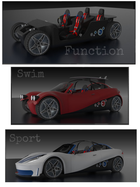 Concept for a modular 3D-printed car design. (Image courtesy of Reload.)