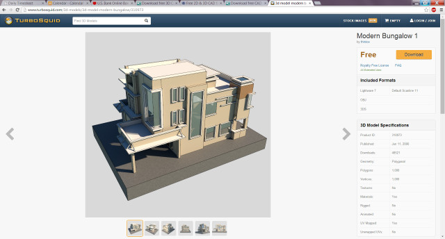 Example of a free downloadable architectural model. (Image courtesy of TurboSquid.)