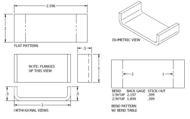 Figure 4. A simple part with two bends. The bend table at the bottom right of the image includes the critical back gage and stick out measurements used to create the part. Leacox has created a technique to automatically calculate these values in Solid Edge. Image courtesy of Scott Leacox.