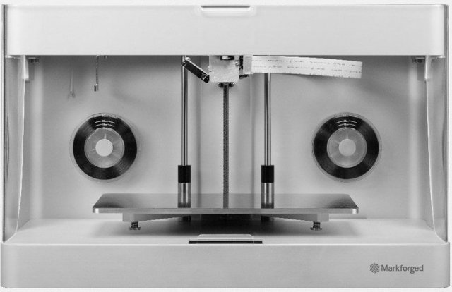 The Mark Two of Markforged is a affordable-bodied fiber composite 3D printing device. (Image courtesy of Markforged.)