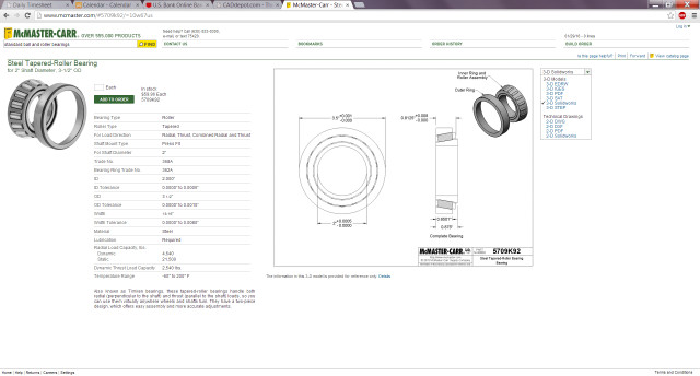Steel-tapered roller bearing available for download in multiple formats. (Image courtesy of McMaster-Carr.)