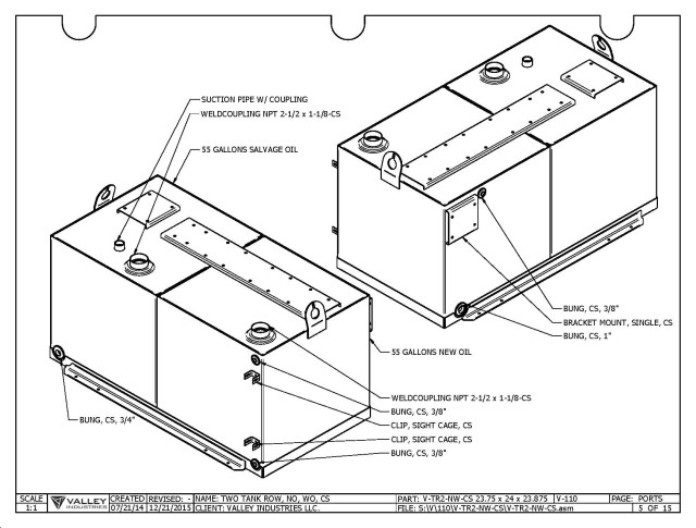 Figure 6. Sheet metal tanks as produced by Valley Industries. The actual specifications for building this part cover 10 pages of drawing and data. Leacox sets the sizes of the tanks and has automated the process to create the necessary bend tables for the shop to fold the finished pieces. Using Solid Edge has resulted in more accurate measurements, allowing faster assembly and welding of the final parts. Image courtesy of Scott Leacox.